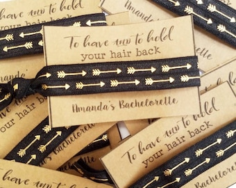 Bachelorette Party Favors / To Have and To Hold Your Hair Back /Bachelorette Party /Elastic Hair Tie / Creaseless Hair Tie