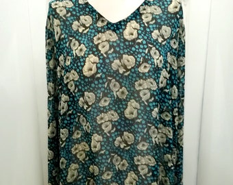 Blue black pretty floral print long sleeve top