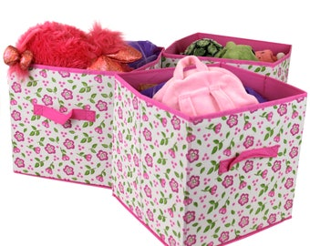 Set of 3- Storage Bins Organizer Cubes Cute Floral Fabric Box Handle