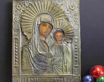 Antique Eastern Orthodox Icon Mary and Jesus // Wood and Copper // 8