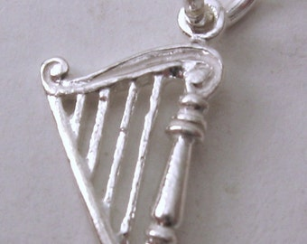 Genuine SOLID 925 STERLING SILVER 3D Harp Musical Instrument charm/pendant
