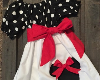 Girls Minnie Mouse Dress, Necklace, and Matching Bow