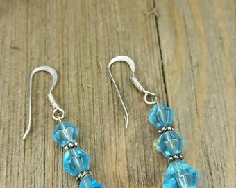 Sterling Silver Blue Beaded Earrings