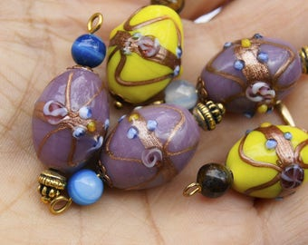 CREATION 6 PENDANTS 30 * 15 MM GLASS BEAD HANDMADE LAMPWORK BEAD