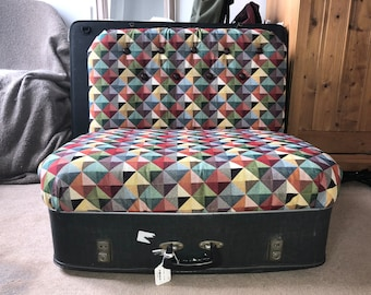 Vintage, upholstered, suitcase chair, repurposed furniture, geometric high quality fabric