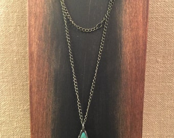 Necklace with soldered blue turquoise pendant
