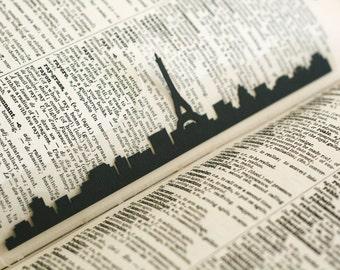 Paris, France Bookmark- Hand-cut Silhouette, Cut Paper Bookmark, Eiffel Tower, Paris Skyline