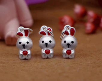 1pcs 8mm x 15.5mm Sterling Silver 925 and Enamel Bunny Rabbit Charm Beads