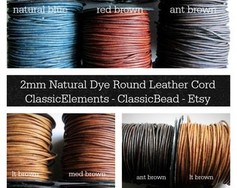 2mm Leather Cord, Round Leather Cord, Colored Leather Cord, Leather Cord, 2.0mm leather cord, 2mm Leather Cord