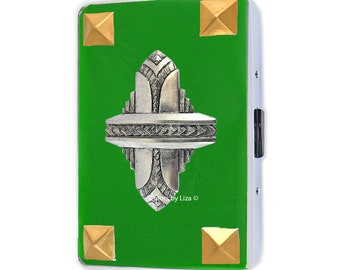 Art Deco Metal Cigarette Case Inlaid in Hand Painted Enamel in Opaque Leaf Green Metal Wallet with Color and Personalized Options