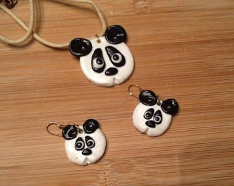Adornment necklace and earrings panda