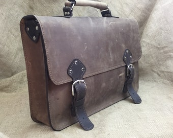 Leather Satchel Messenger Bag, Chocolate Brown Distressed, Rugged Laptop Briefcase Carry-All Bag