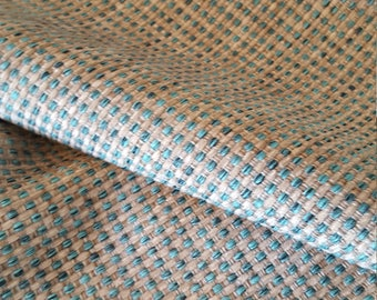 Aqua Teal GRAY WOVEN CHENILLE 3.5 yard piece Upholstery Fabric, 16-17-42-0317