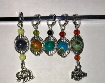 Stitch Markers - Natural Gemstones - Style 2