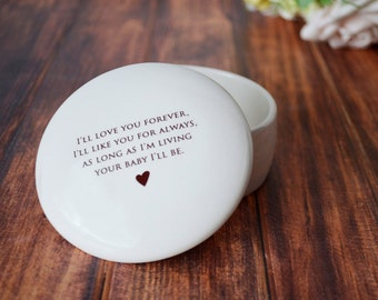 Mother of the Bride Gift - SHIPS FAST - Round Keepsake Box - As Long as I'm Living Your Baby I'll Be - With Gift Box