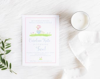 Mother Goose Invitation, Nursery Rhyme Invitation, Birthday, Invitation, Watercolor Mother Goose, Digital Invite, Mother Goose Birthday