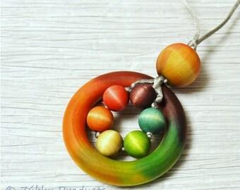 "Tie Dye Rainbow Wood Teething Necklace by Zúbky - Natural Nursing Breastfeeding Babywearing Mamas ""Peace Love Zúbky"""