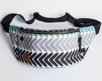 blue herringbone Fanny Pack, Waist Bag, Bum Bag, Hip Pouch, Belt Bag, Custom Made, Slow Fashion