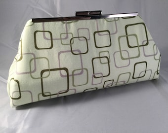 Green And Lilac Squares Medium Clutch Bag