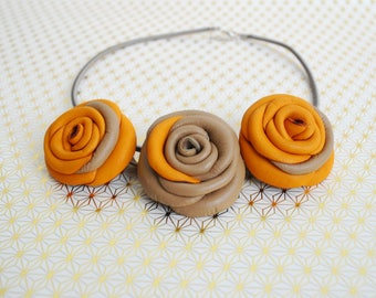 Beige and Yellow Leather Necklace- Festive Jewellery- Genuine Leather Necklace- Bib Necklace- Statement Jewellery- Gift for Her