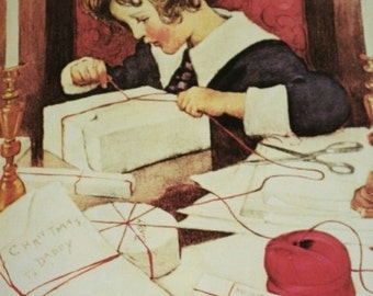 My Ball of Twine by Jessie Wilcox Smith for Woman's Home Companion, December 1919/Christmas Poster/Unframed Print/1970s Bookplate