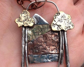 Sterling Silver, Brass & Copper Mountain Scene Pendant with Two Trees