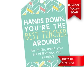 Teacher Appreciation | Teacher Thank You Gift Tags (Large) | Editable to add message & name {instant download}