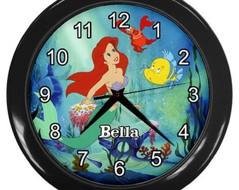 Personalized The Little Mermaide Name Bedroom Wall Clock