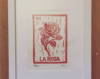 Mexican Art / Loteria / La Rosa Heart Limited Edition Red Rose Loteria Block Print