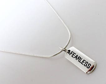 Fearless Tag Necklace//Charm Tag Necklace with FEARLESS Charm//Dog Tag Necklace with FEARLESS Charm//Silver Chain With FEARLESS Tag Charm.