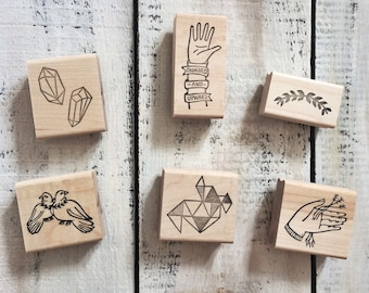 FULL LINE of Rubber Stamps by Brown Pigeon and Tusk and Cardinal, aka Bird in the Hand : A special artist collaboration