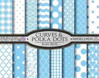 Baby Blue Polka Dots & Curves Digital Scrapbook Paper - Digital Polka Dots Shapes Backdrop Hearts Background Printable Quatrefoil Pattern