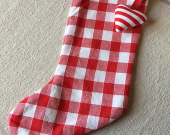 Checkered red Christmas stocking