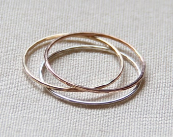 Three Solid 14k or 18k Gold Tricolor Stack Rings - Solid 14k or 18k Gold - Rose - White - Yellow - Hammered Rings - Mixed Metals - Delicate