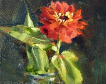 Small Oil Painting of a Pink Zinnia