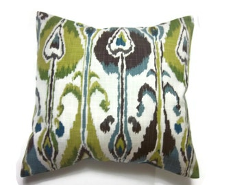 Decorative Pillow Cover Green Blue  Brown Chartreuse Natural Ikat Design Same Fabric Front/Back Toss Throw Accent 18x18 inch x