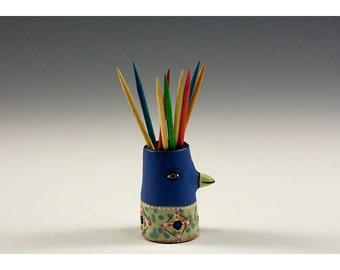 Vincejo - Ceramic Bird Toothpick Holding Bud Vase by Jenny Mendes