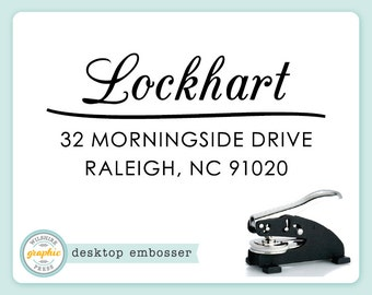 Embosser - LOCKHART Style - Desk Model - Personalized Return Address - Embossing Stamp Seal - Wedding Housewarming Gift