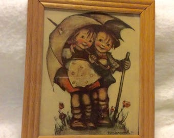 Vintage Hummel 1940s boy and girl under umbrealla print under glass. 1940s. Free ship