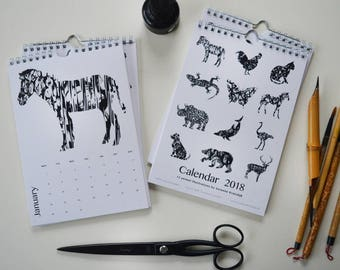 2018 Calendar - Animals 12 months calendar, Animal illustration, Zebra, Butterfly, Cat, eco friendly stationary