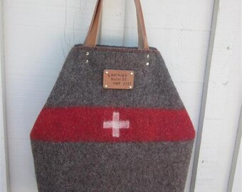 Swiss Army Wool bag, XL Office  Carry All TOTE. Unique . Vintage Swiss Army wool leather handles