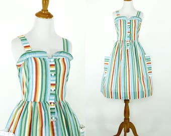 Vintage 1970s Dress | 70s 80s does 50s Striped Sundress with Eyelet lace Trim | Medium M