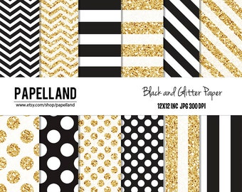 Black and Gold Digital Paper Pack, Glitter Paper for scrapbooking, Making Cards, Tags, Invitations, party decor, backgrounds