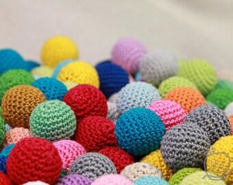 Crochet beads 25 PCS, 18 mm Wooden crochet beads Colorful crochet  beads, handmade craft supplies, bead mix