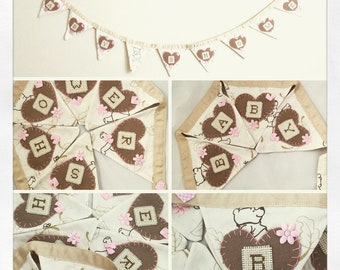 Baby showerbanner Baby shower decor Baby shower fabric bunting garland in neutral colours, hand embroidered,