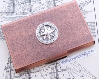 Nautical Compass Copper Business Card Case Steampunk Card Case Card Holder Vintage Victorian Style Card Case New Handcrafted Card Case