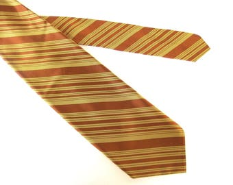 Wide Striped Tie, Rust and Gold Vintage Tie