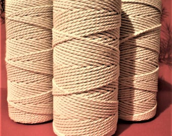 3 pieces 2 mm Natural cotton twisted cord ( 1 piece 100 m long) for Macrame,home, garden, office, sewing, decor, wedding, wrapping, crafts.