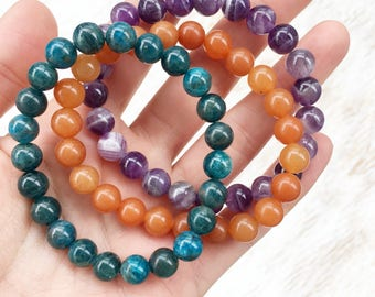 Colorful Gemstone Bracelet Set, Apatite Bracelet, Amethyst Bracelet, Aventurine Bracelet, Boho Jewelry, Healing Crystal, Healing Jewelry