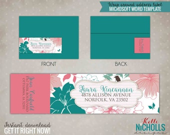 Floral Wedding Wrap Around Return Address Label Template - Instant Download